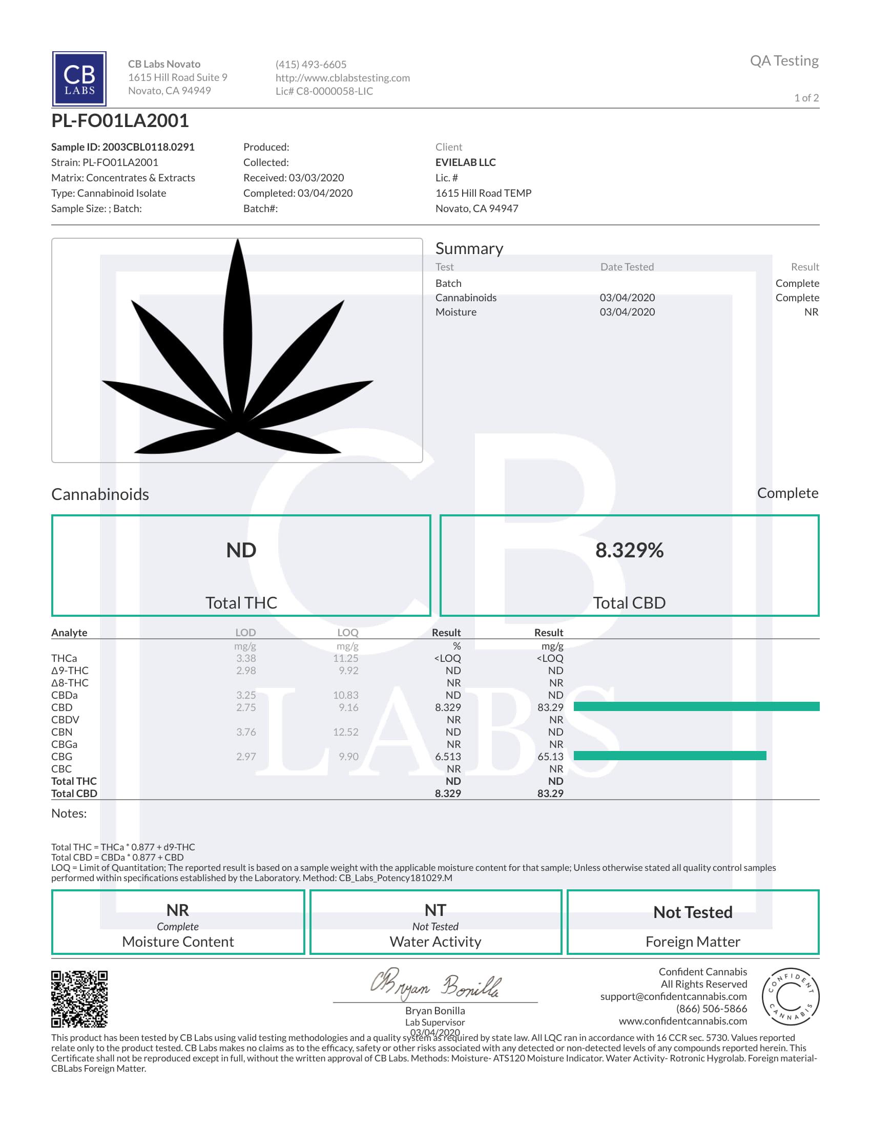 certificat Focus CBD Evielab 1/2