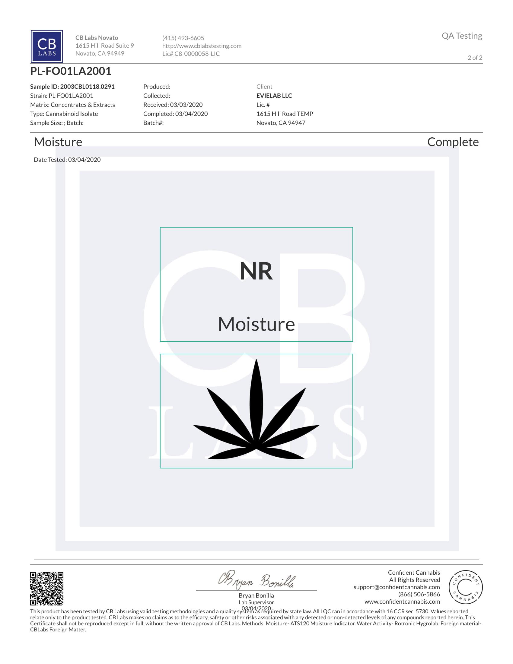 certificat Focus CBD Evielab 2/2