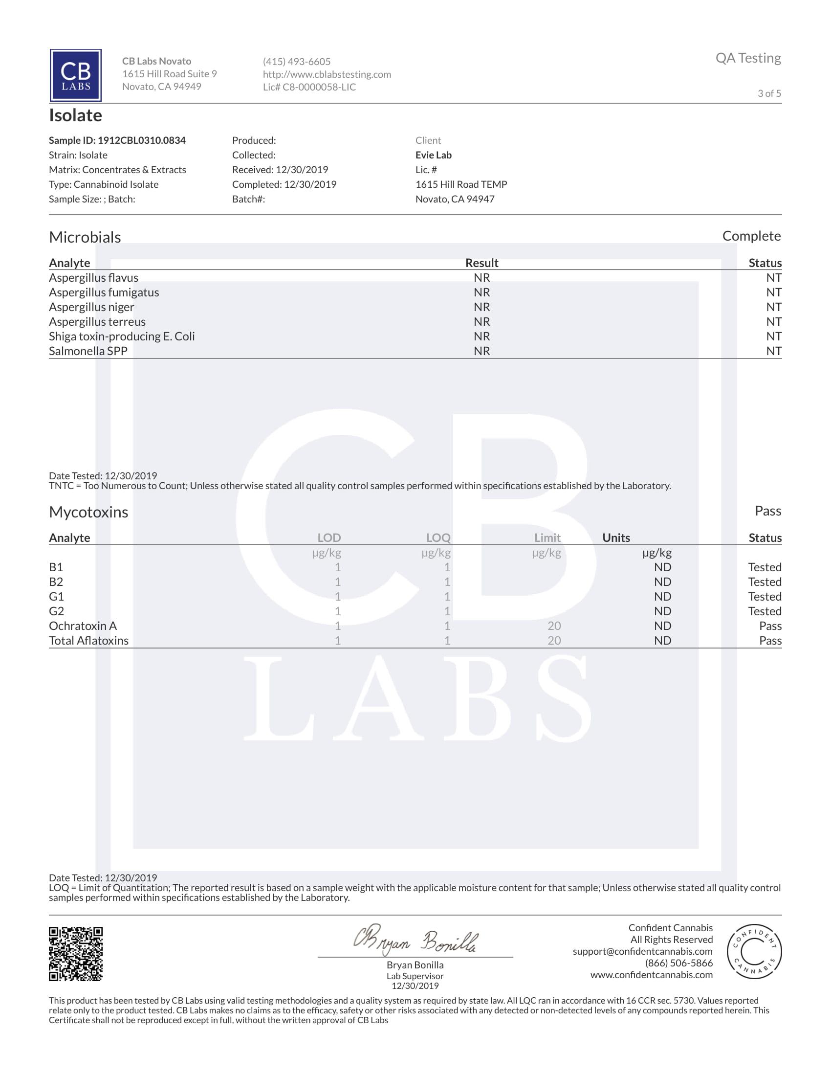 certificate pure CBD Evielab 3/5